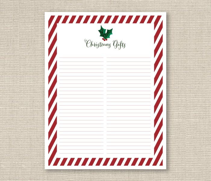 image regarding Christmas Gifts List Printable known as xmas present checklist printable Ashlee Proffitt