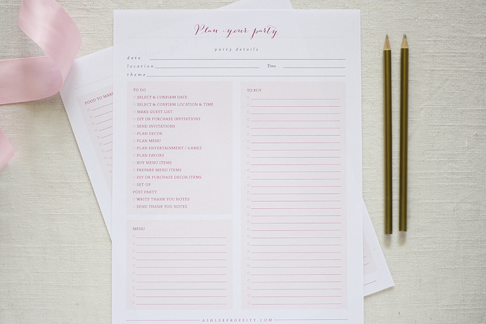 Party Planning Checklist | Ashlee Proffitt
