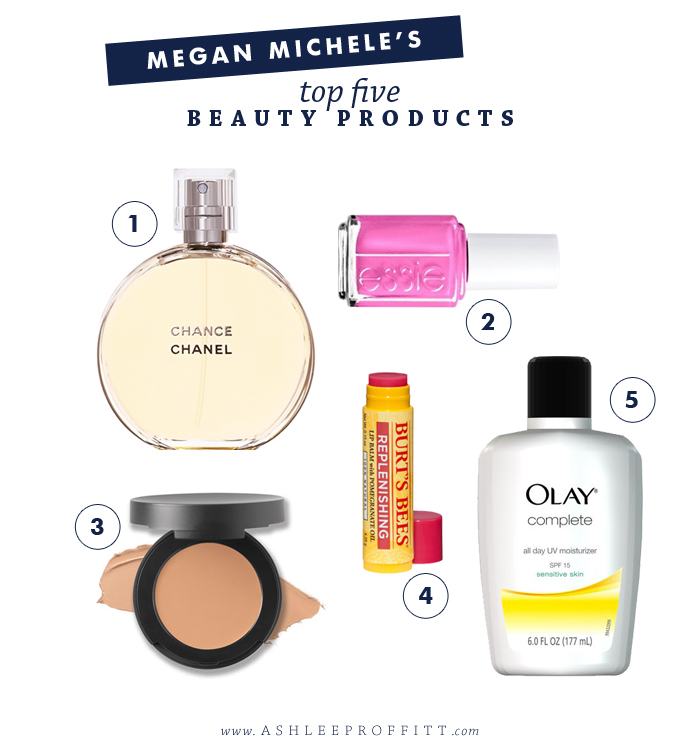 Top 5 Beauty Products by Megan Michele for AshleeProffitt.com