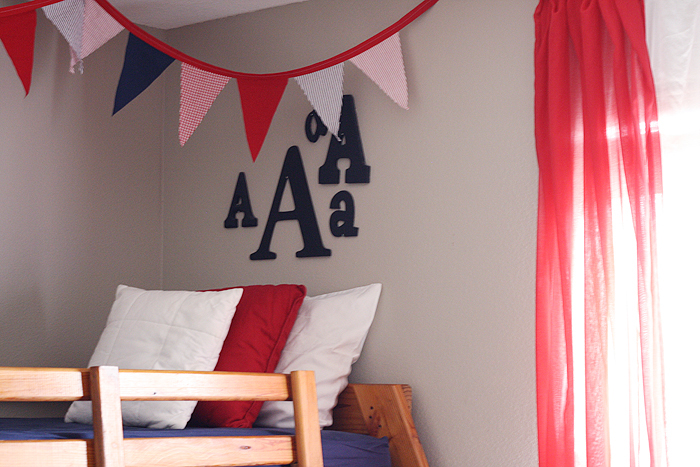 Red & Navy Boys Shared Room | by Ashlee Proffitt