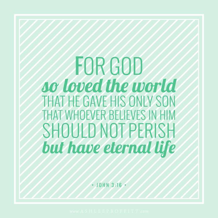 Memory Verse Printable | John 3:16 | Intentional Mama Series by Ashlee Proffitt