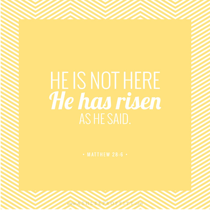 Memory Verse Printable for Easter | He Has Risen | by Ashlee Proffitt
