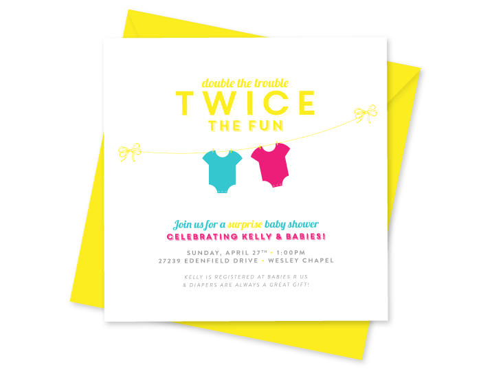 Invitation for Twins Baby Shower | Ashlee Proffitt