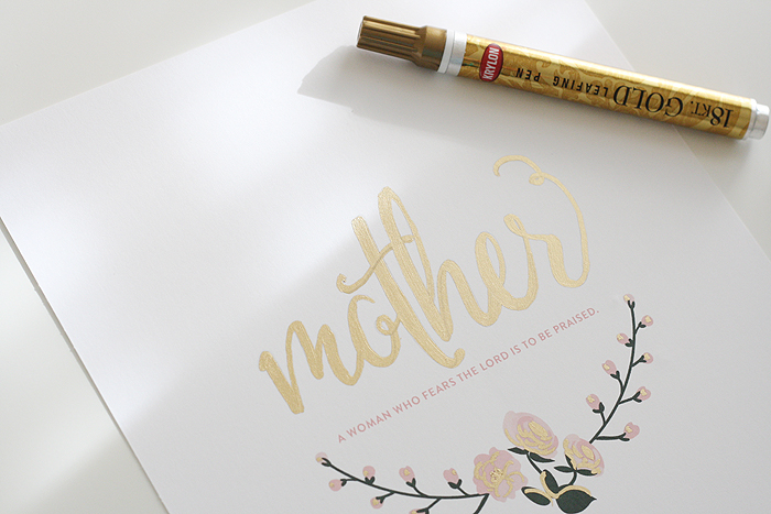 Mothers Day Art Print | DIY Gold Leaf | AshleeProffitt.com