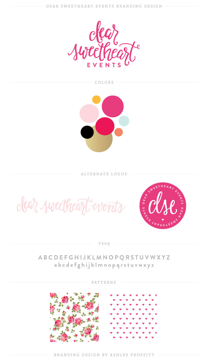 Brand Board | Dear Sweetheart Events | Branding Development by Ashlee Proffitt