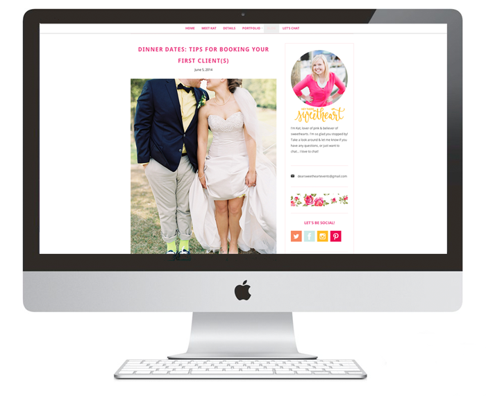 Website| Dear Sweetheart Events | Branding Development & Website Design by Ashlee Proffitt