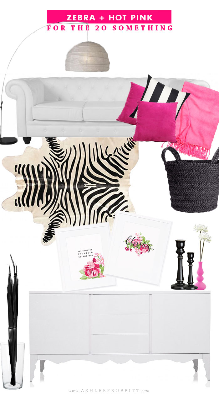 Curated Rooms: For the Young Single Lady / Zebra + Hot Pink | by Ashlee Proffitt