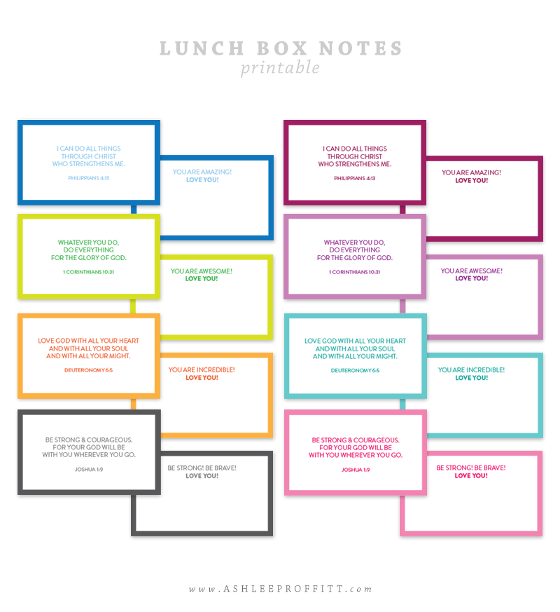 Printable Lunchbox Notes Bible Verses | by Ashlee Proffitt | Intentional Mama Series