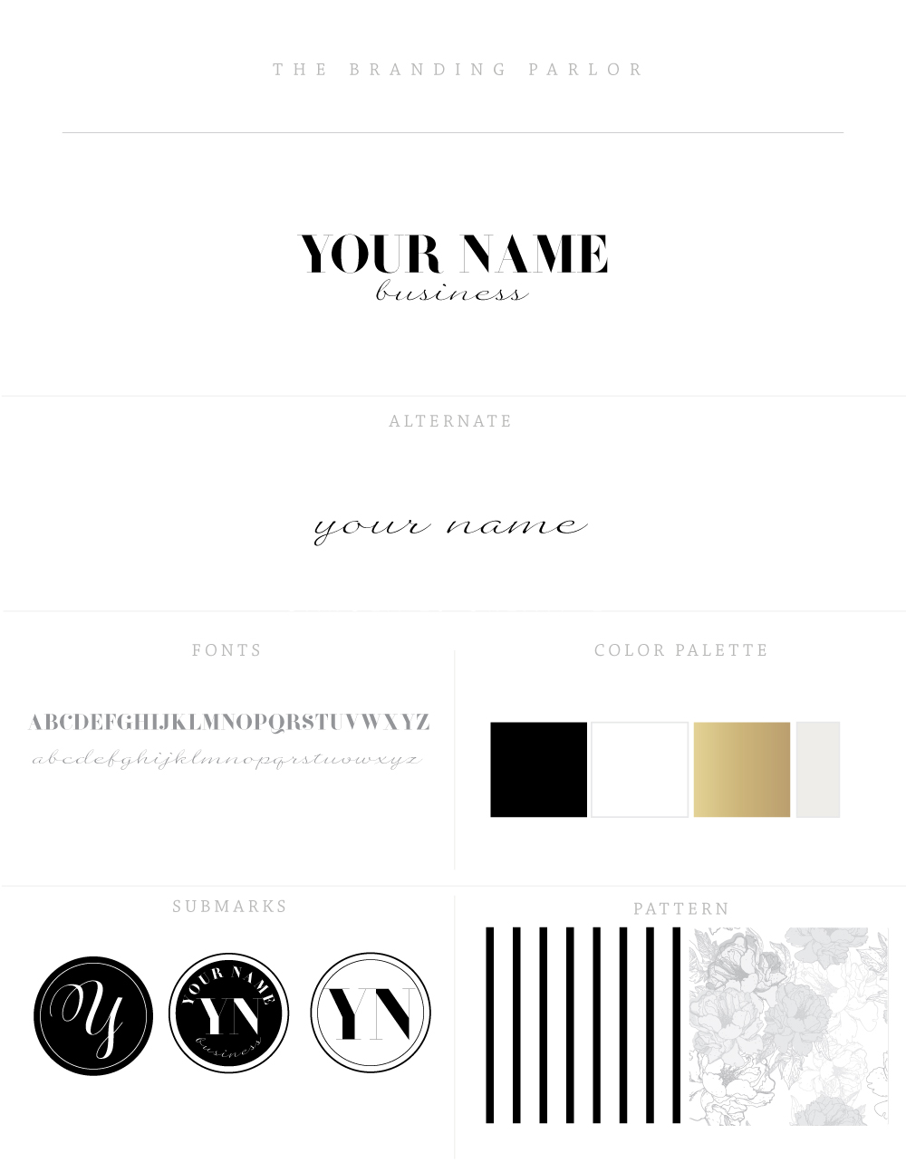 The Branding Parlor: Pre-Designed Brand Collections | Luxurious Black & White | www.TheBrandingParlor.com