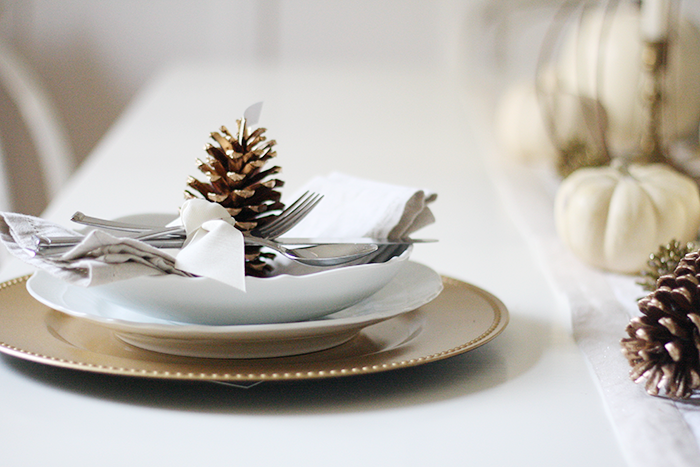 Gold & White Thanksgiving Tablescape | Ashlee Proffitt