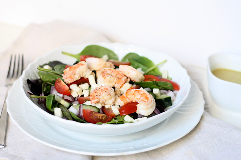Mediterranean Shrimp Salad Citrus Vinaigrette | meal planning service: healthy and simple | eat real with me | photo by Ashlee Proffitt